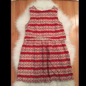 TOPSHOP Red Pink White Layered Sleeveless Dress